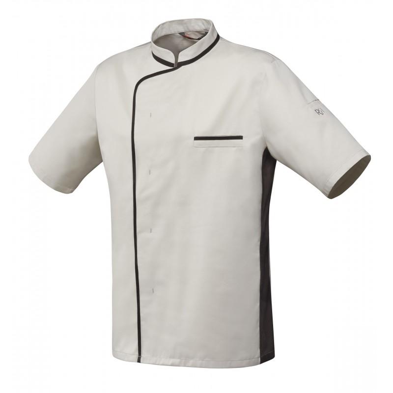 veste de cuisine mixte beige à liseré moka robur