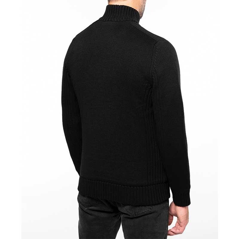 Cardigan noir doublé polaire TOPTEX porté de dos