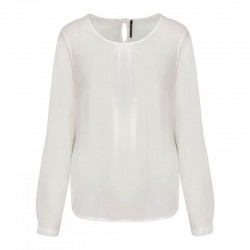 Blouse crêpe blanche manches longues femme - TOPTEX