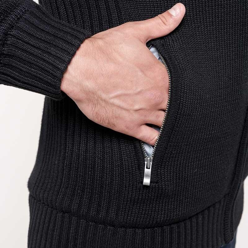 zoom poche Cardigan noir doublé polaire TOPTEX