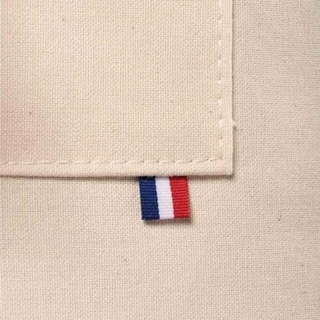 zoom détail tricolore poche Tablier de cuisine beige liseré tricolore Toptex