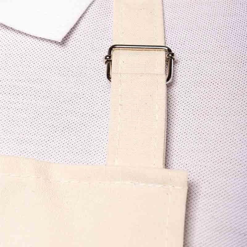 zoom boucle métal Tablier de cuisine beige liseré tricolore Toptex