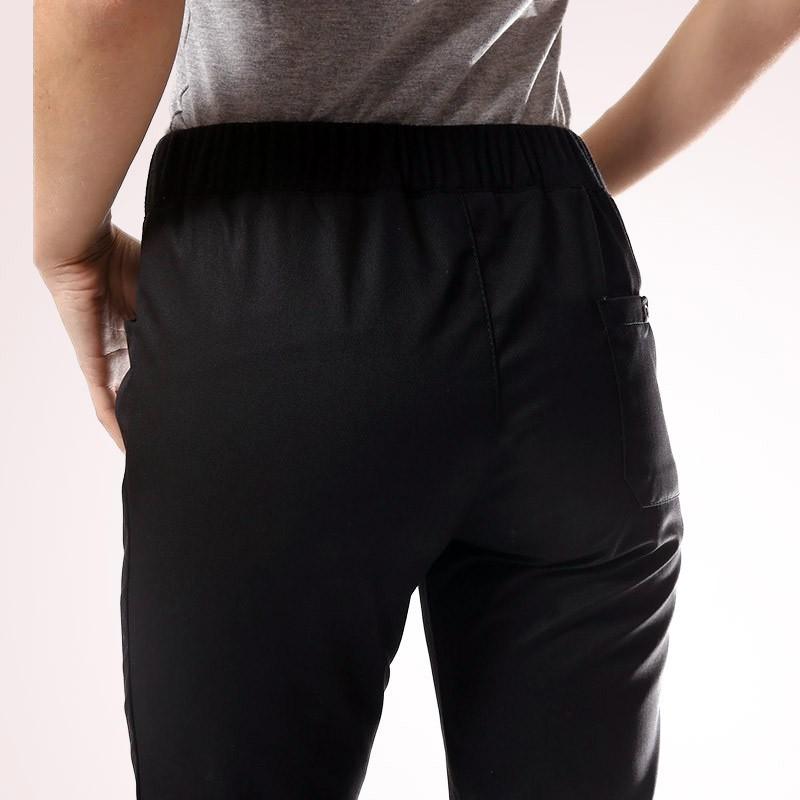 zoom derrière pantalon de cuisine femme noir slim