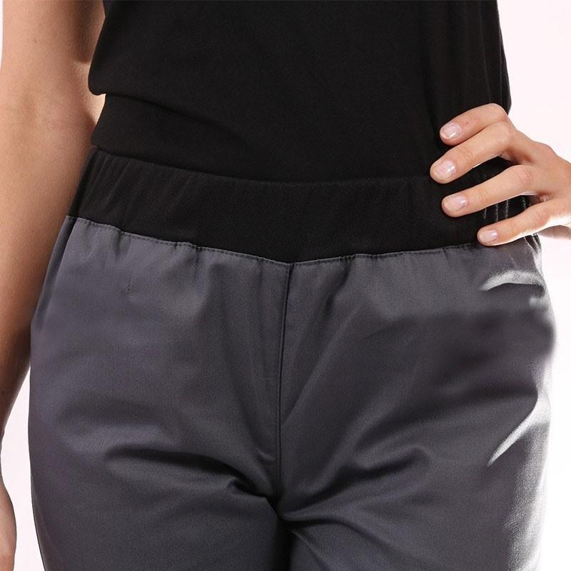zoom face pantalon de cuisine femme gris slim