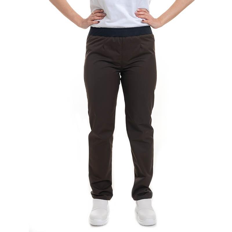 pantalon de cuisine femme marron slim manelli taille élastique