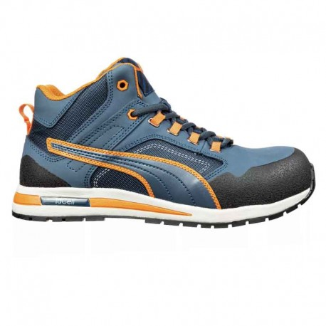 chaussure de securite puma bleu et orange
