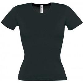 Tee shirt de travail femme col v noir