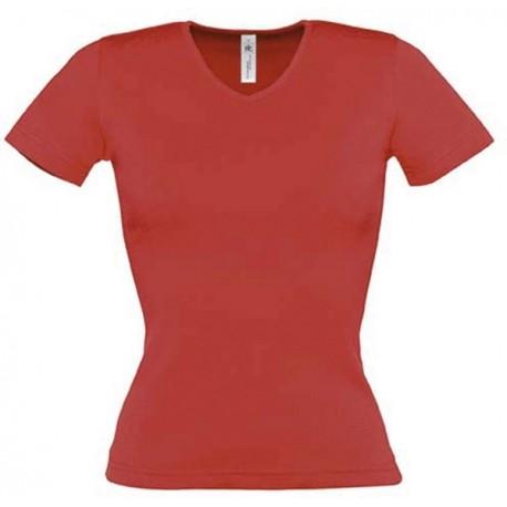 Tee shirt de travail femme col v rouge