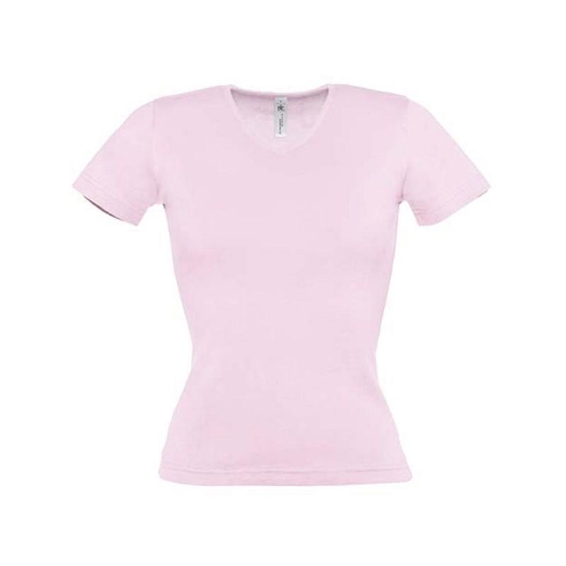 Tee shirt de travail femme col v rose