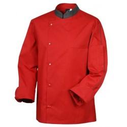 CHEF JACKET ORAGE, rouge avec col gris, manches longues, élégance en cuisine