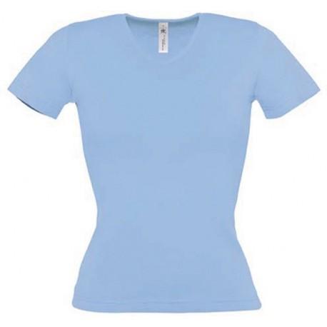 Tee shirt de travail femme col v bleu ciel
