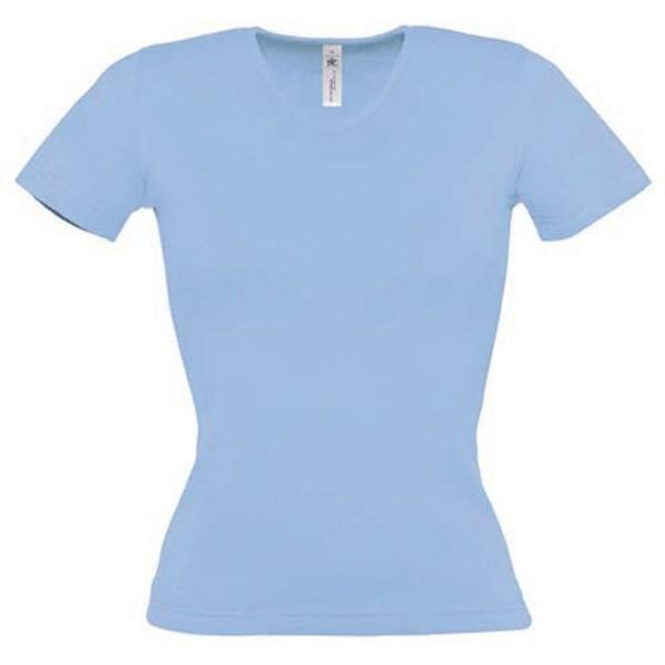 Tee shirt de travail bleu ciel femme col v medical for T shirt de cuisine