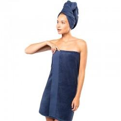serviette de bain coton bio bleu marine