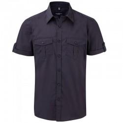 chemise manches courtes bleu marine