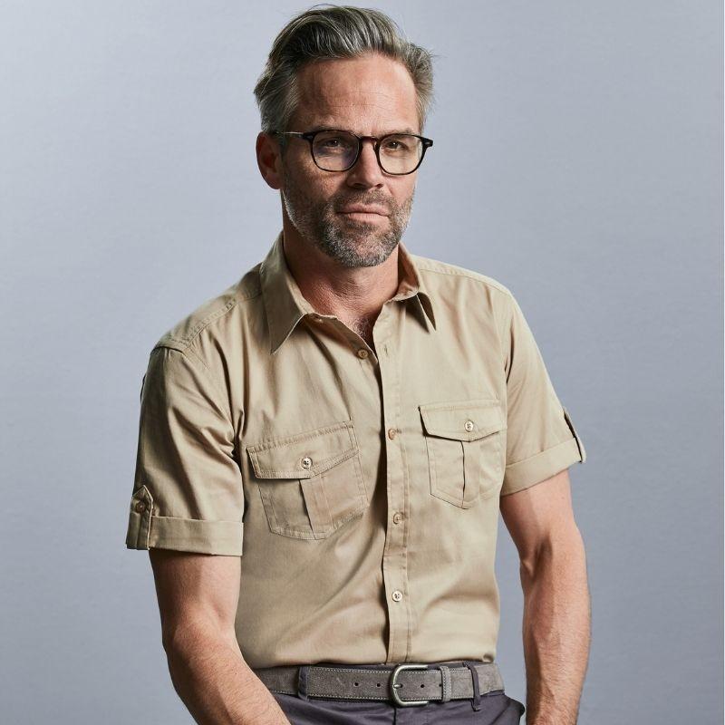 chemise en manches courtes homme beige