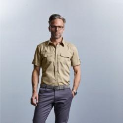 chemise manches courtes beige