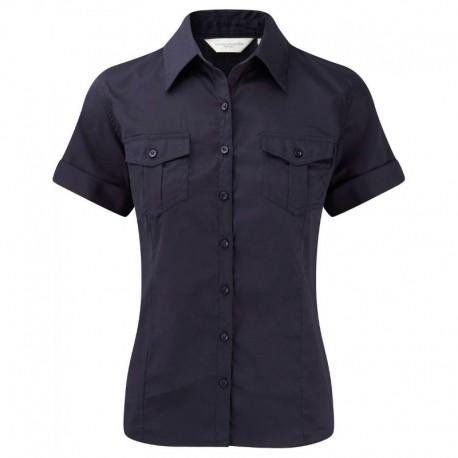 chemise manches courtes femme bleu marine