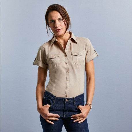 chemise manches courtes beige femme