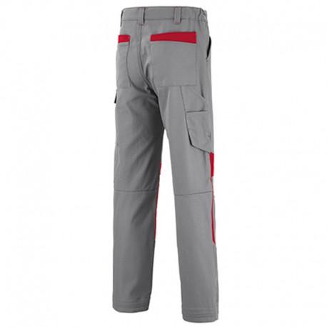 Pantalon de travail gris à empiecement rouge Lafont