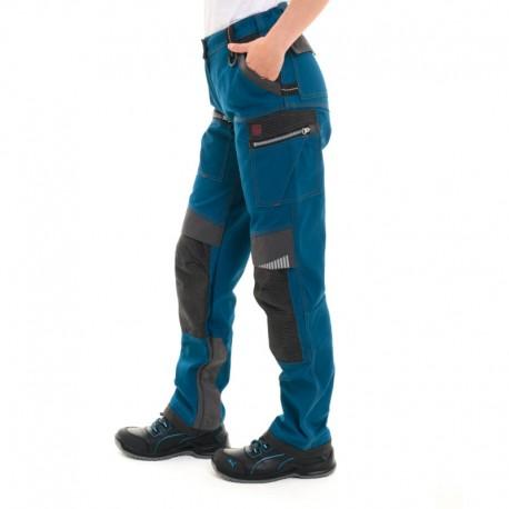 Pantalon de travail bleu pétrole insert gris