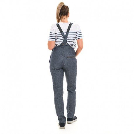 cotte en jean croisé dos