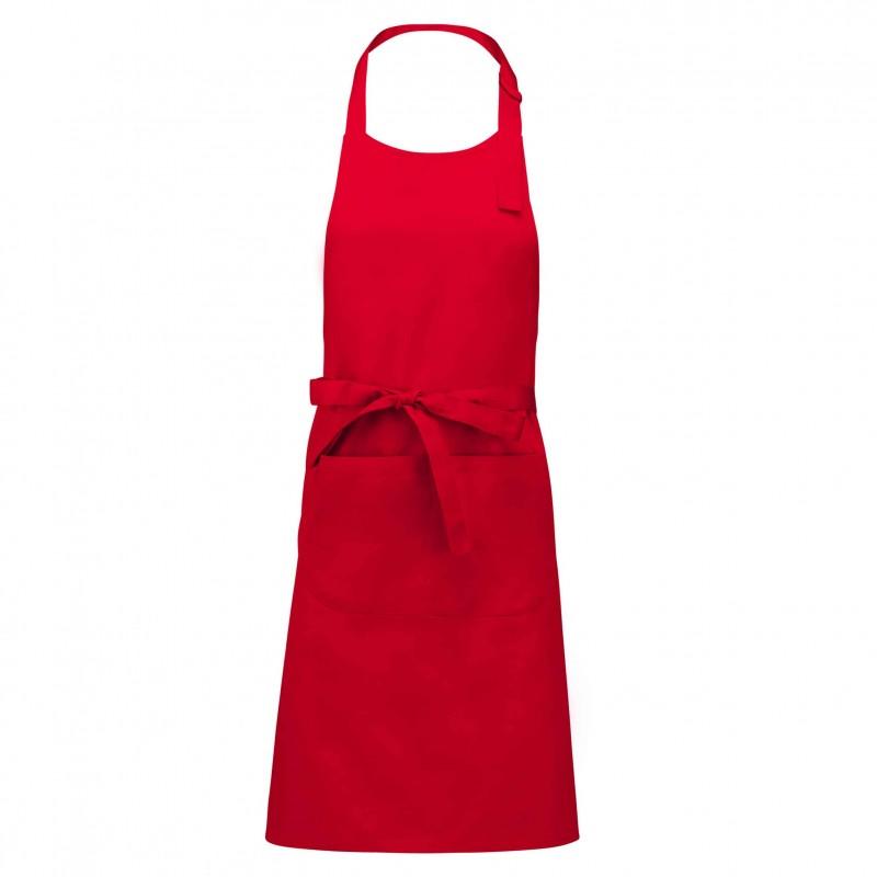 Tablier a bavette couleur rouge