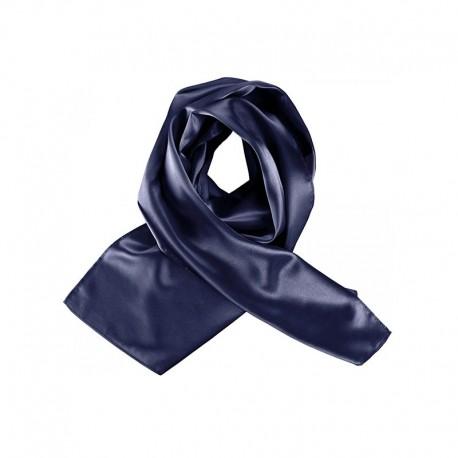 foulard satiné bleu marine