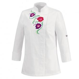 Giacca da cucina da donna bianca con motivo floreale