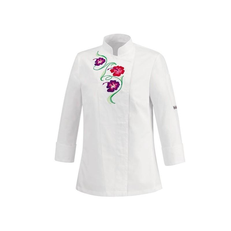 Veste de cuisine femme blanche motif fleurs