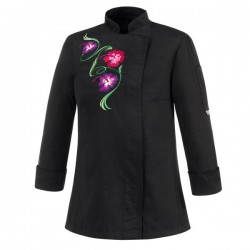 Veste de cuisine noire blanche motif fleurs