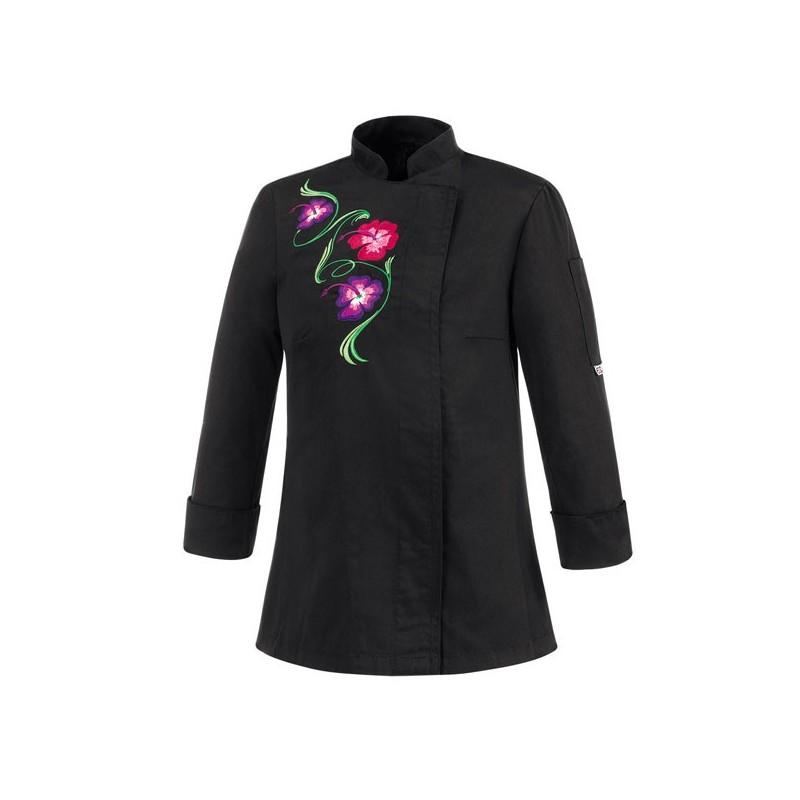 Veste de cuisine femme noire motif fleur livraison 24h for Veste de cuisine brodee