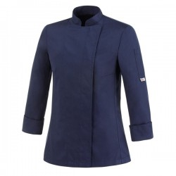 Veste de cuisine femme bleue