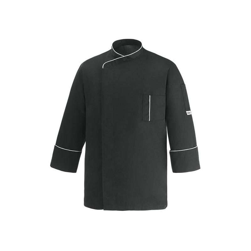 Veste de Cuisine microfibre noire liseré blanc, coupe droite, poche poitrine, marque Manelli
