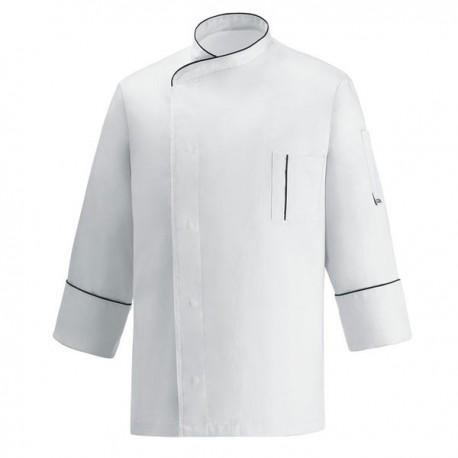Veste de Cuisine microfibre blanche liseré noir, coupe droite avec poche poitrine, bouton pression