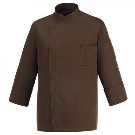 Veste de Cuisine marron - Primo, couleur unie marron, coupe simple et droite