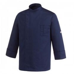 Veste de Cuisine bleu - Primo, coupe sobre, couleur unie, manche longue