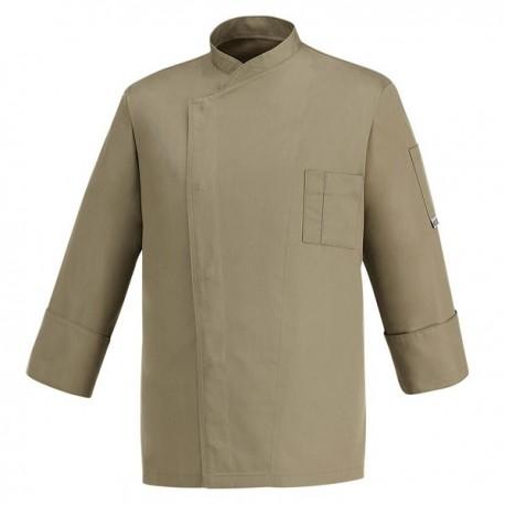 Veste de Cuisine taupe - Primo, couleur unie taupe, coupe droite prix accessible