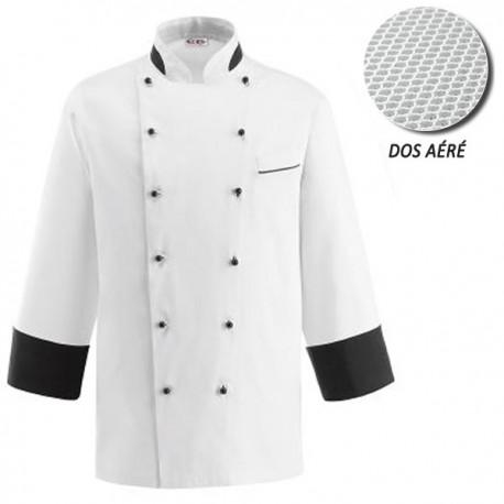 Veste de Cuisine blanche dos aéré - Nano, bouton noir, double fermeture, coupe droite