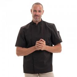 Veste de Cuisine noire  Moka, manche courte, haut de gamme Robur