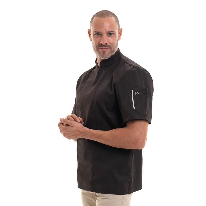 veste de cuisine moka à liseré sur la poche