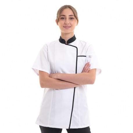 Veste de cuisine femme blanche Robur liseré noir