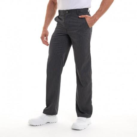 Pantalon de cuisine à pince noir rayé Robur