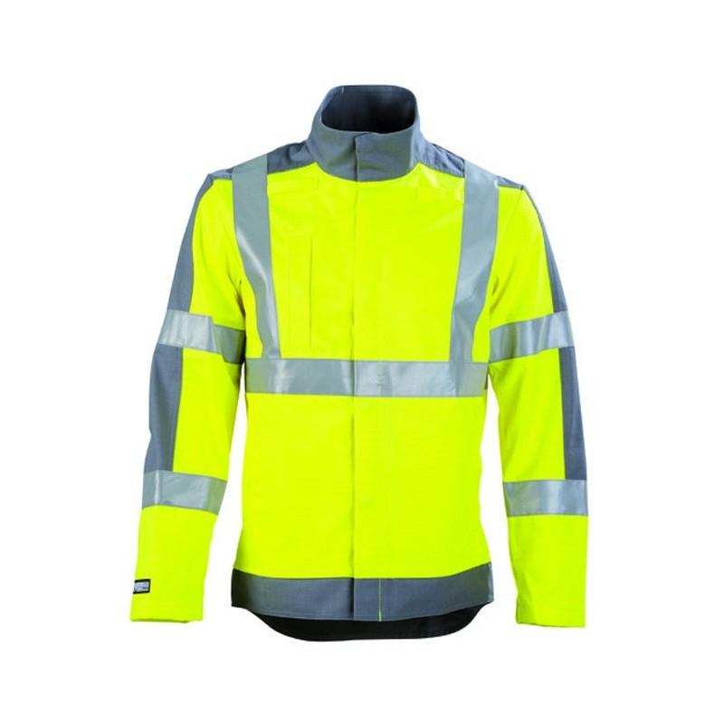 Veste de travail haute visibilité protection contre les arcs électrique et adapté aux zones ATEX JAUNE HIVI/ACIER homme femme