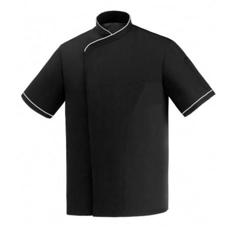 Veste de cuisine noire liseré blanc grande taille manches courtes