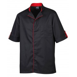 Veste de pâtissier noire liseré rouge Robur boutons pressions