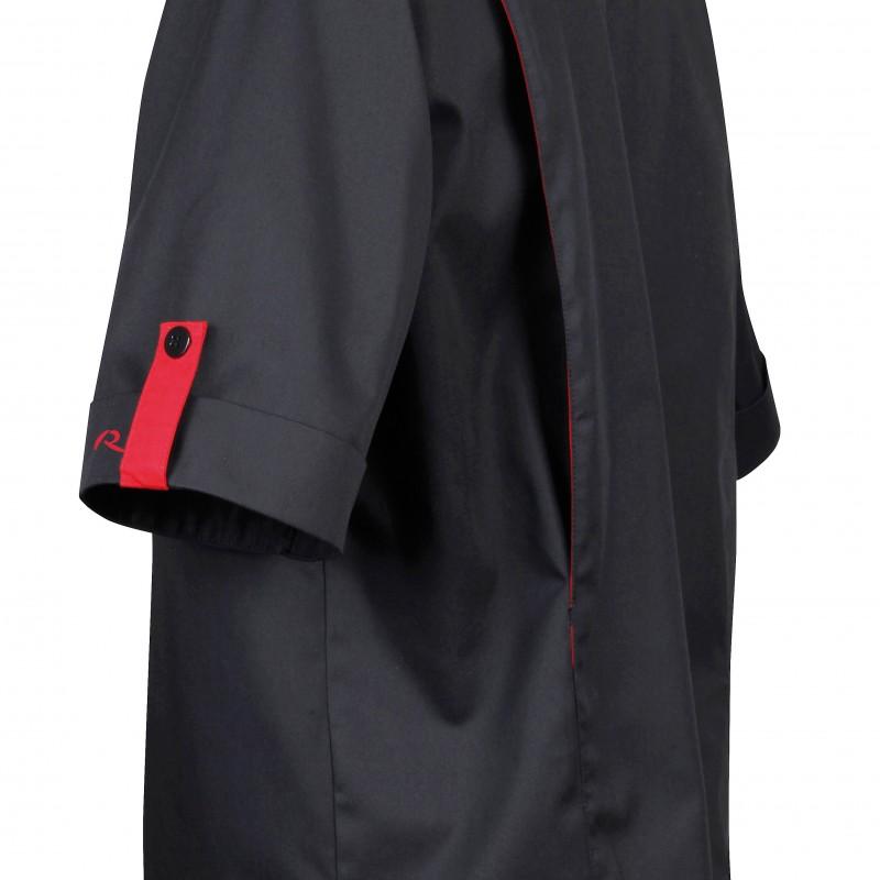 Veste de pâtissier noire liseré rouge Robur poche à stylo