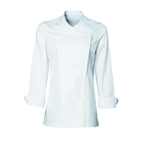 Veste de cuisine femme blanche julia Bragard, coupe slim très élégante. Tissu de qualité
