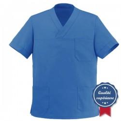 Tunique médicale bleue col V - MANELLI
