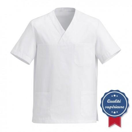Tunique médicale blanche col V manelli