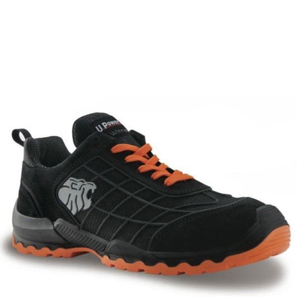 Chaussures de sécurité noir et orange Match S1P SRC, upower bicolore, moderne et design